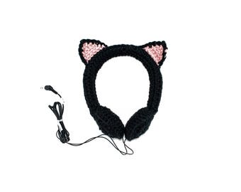Black Cat Crocheted Headphones