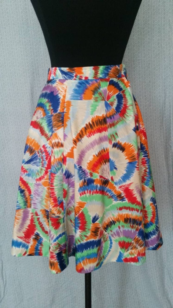 1950s Circle Rainbow Cotton Skirt XS S Pride Novel