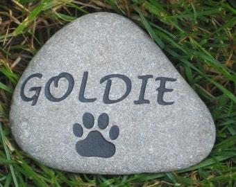 Pet Memorial, Personalized Pet Memorial Stone, Engraved Natural Stone Rock, Outdoor Garden Memorial Stone, Dog, Cat, Marker 3-4 Inch
