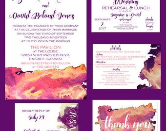 Pink Watercolor Wedding Invitation Digital Printable Package