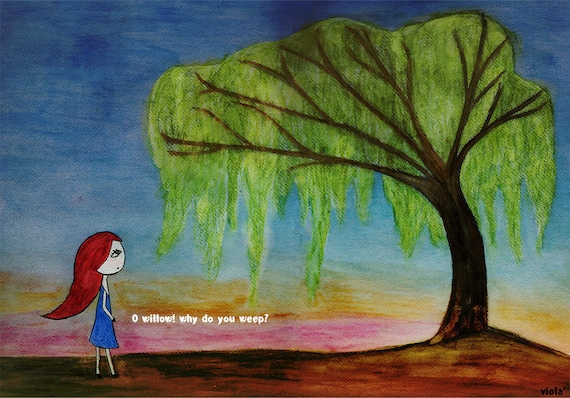Art Print O Willow Willow Tree Art Poem Red Haired Girl Naive Art Visual Poetry Tree Friend Tree Lover Sunset Whimsical Art