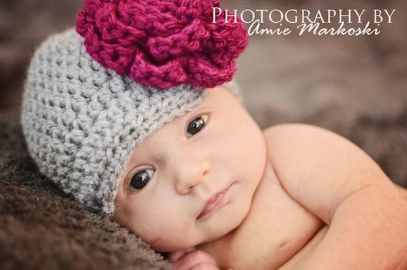 f0eded3f9b40a Newborn Flower hat crochet girl hat baby winter hats baby