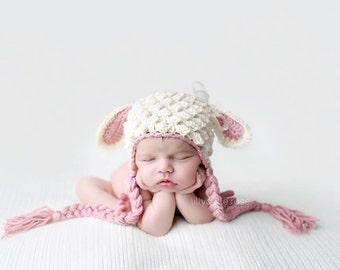 Crochet Lamb Hat, Animal Hat, Newborn Lamb Hat, Baby Girl Hat, Baby Boy Hat, Hat with Ears, Sheep Hat, Baby Shower Gift, Easter Hat