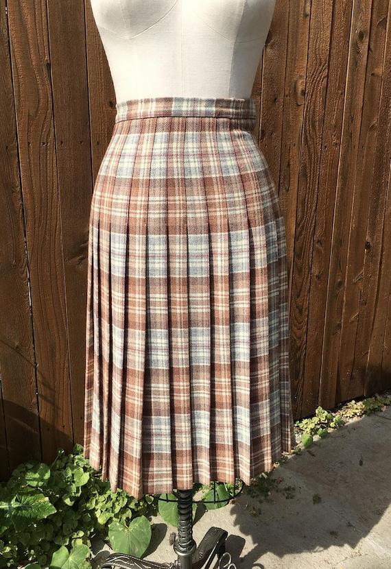 The Edinburgh Woollen Mill 70s Vintage Plaid Pleated Skirt Pure New Wool
