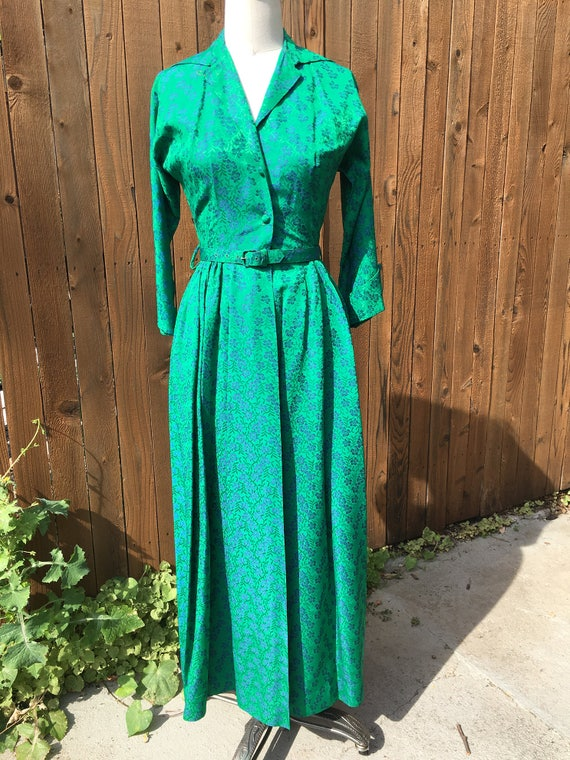 Lord Taylor 50s Brocade Evening Gown Emerald Green Jacquard Etsy