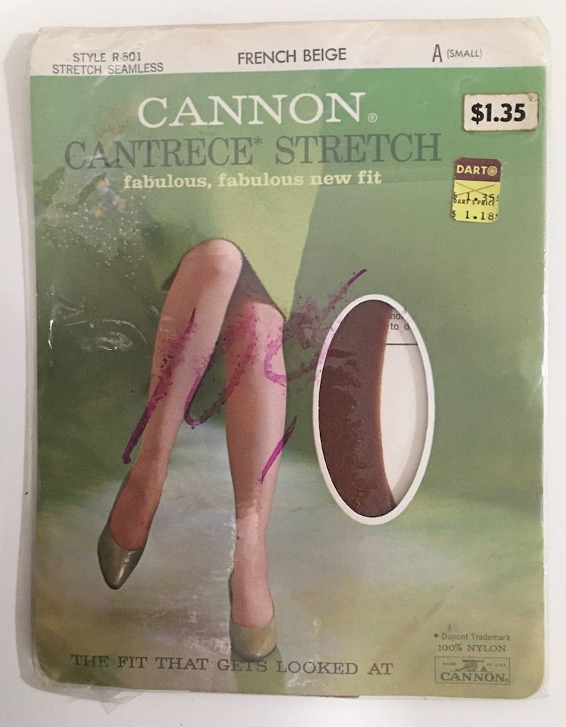 f0c0b46274530 60s Cannon Cantrece thigh high seamless nylon stockings. Size | Etsy