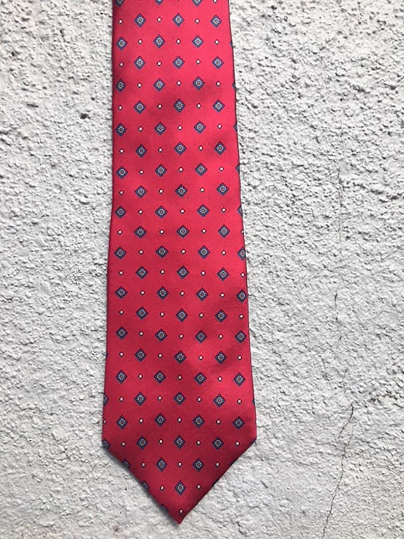f381ea22dc09 John Henry vintage tie. Men's necktie. Red with navy   Etsy