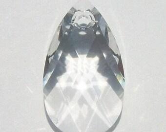 Sale -- 2 - 16mm Swarovski Crystal Pendants green crystal PEAR Pendants --  CLEAR CRYSTAL -- 2 pieces 9d926678e25b
