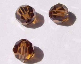 Swarovski crystal beads Round Crystal elements Beads 5000 smoked topaz brown - Available in 4mm, 6mm and 8mm
