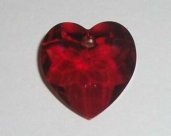Swarovski Heart Pendant crystal bead 18mm HEART -- RED MAGMA  style 6215 -  1 piece