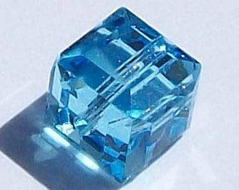 Clearance Sale -- 6mm Swarovski cubed beads 6mm Cube style 5601 Crystal Beads.....AQUAMARINE (light blue) - 4 cube beads