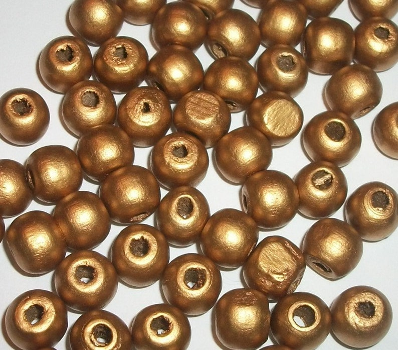 Gold  100 loose beads metallic wooden beads craft supply jewelry supplies 10mm round dyed wooden beads for jewelry making Gold Wood beads