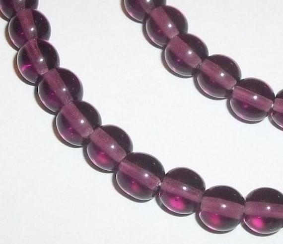 50pcs Czech Druk Beads 6mm Smooth Round Glass Beads 6mm Amethyst Round Beads