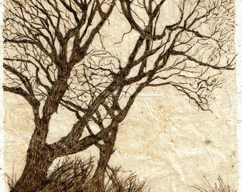 Ink Drawing on teabag, tree painting,teabag art, mixed media, winter trees,original art,tree landscape, sepia drawing