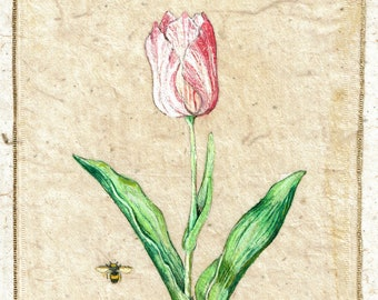 Painting on teabag, flower painting,teabag art, floral art, tulip, botanical, garden, original painting