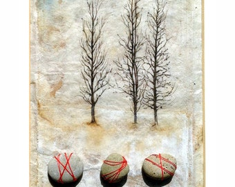 Ink Drawing on teabag, tree painting,teabag art, mixed media, winter trees, Monogahela river rocks,original art,