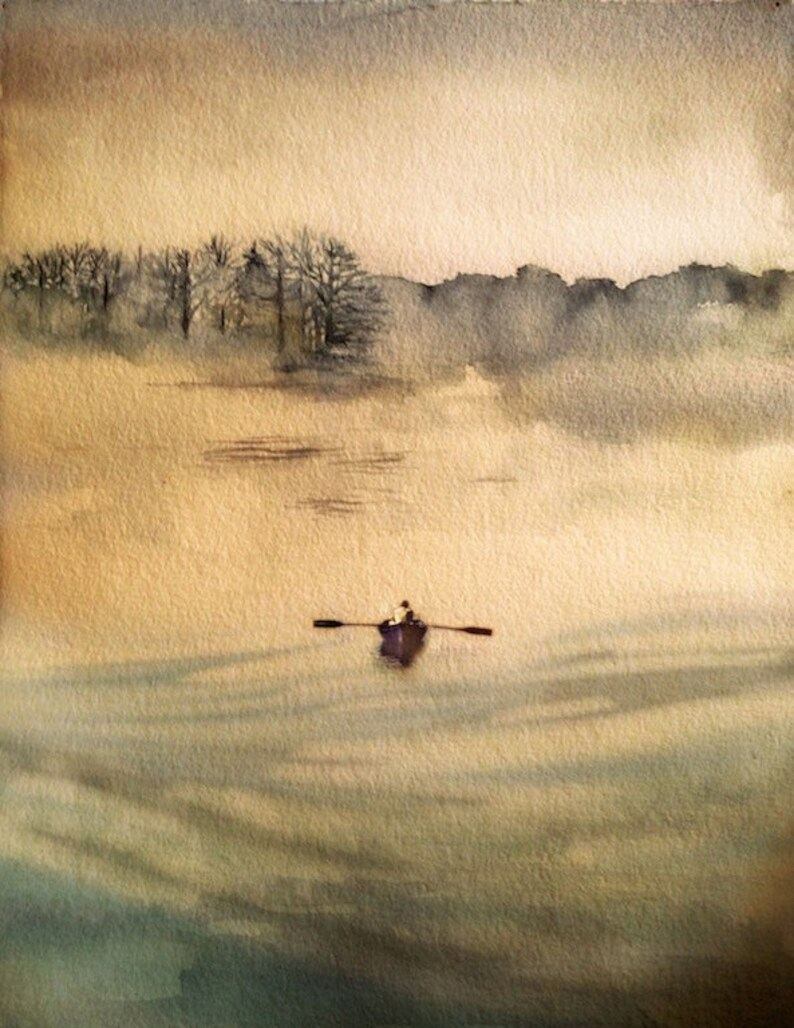 Rowboat Alone at sea Watercolor archival print from original image 0