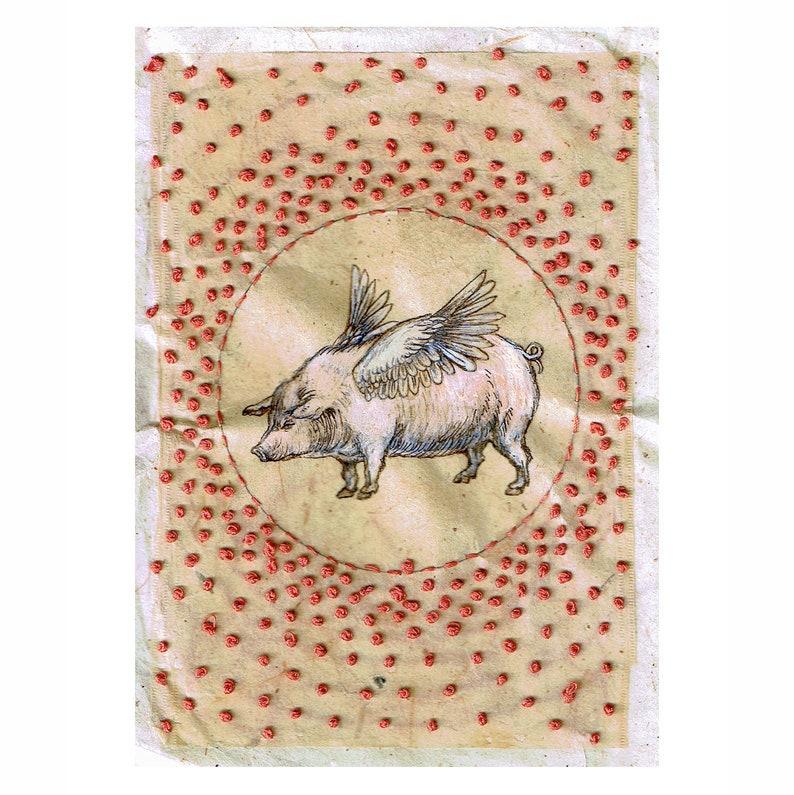 pearls teabag art Andromeda original art small original art ink drawing recycled teabag recycled art embroidery