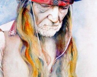 Willie Nelson portrait, archival print of original watercolor painting, Country Music,  original ART, portrait painting, Texas, Nashville