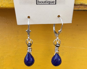 Lapis and Pyrite Earrings