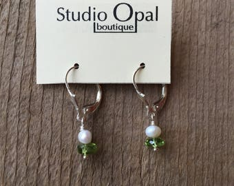 Pearl and Peridot Earrings