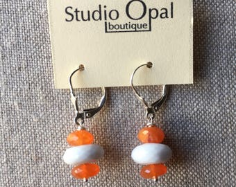Orange Carnelian and Blue Lace Agate Earrings