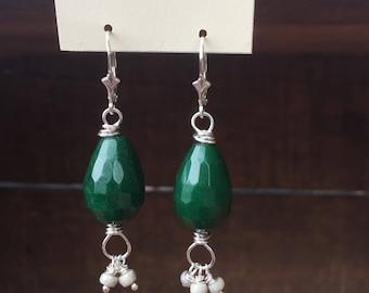 Jade and Opal Earrings