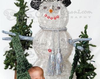 Snowman Newborn Hammock Digital Photography Prop Background (321)