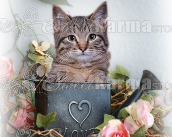 Love Watering Can with Flowers Digital Photography Prop FILE 21