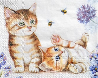 MERYL with blue Paper-Craft and Collage for Decoupage 2 Single  Paper Napkins Decor #617-1 13 inches Decoupage Napkins 33 cm