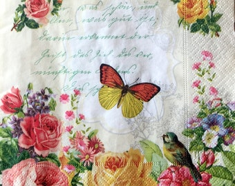 for Decoupage 2 Single  Paper Napkins 33 cm 13 inches Paper-Craft and Collage Decor #657 Decoupage Napkins