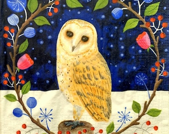 Napkin for Decoupage ~ Hedwig ~ Craft Paper ~Bird Print ~ Decorative Tissue ~ Collage ~ Scrapbooking ~ Decoupage Paper