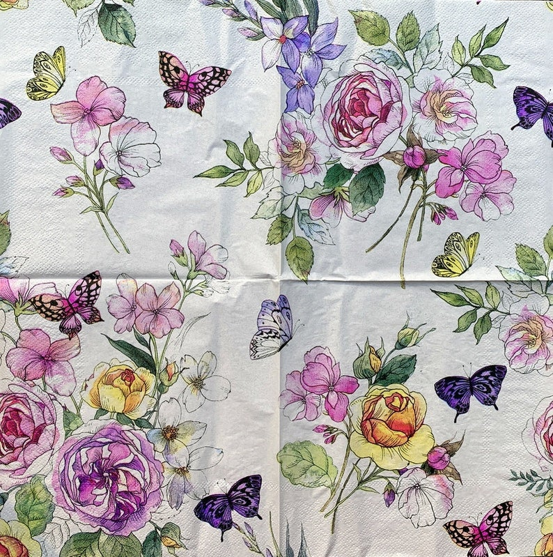 13 inches Decor #2P-21 Decoupage Napkins Paper-Craft and Collage 33 cm for Decoupage 2 Single  Paper Napkins