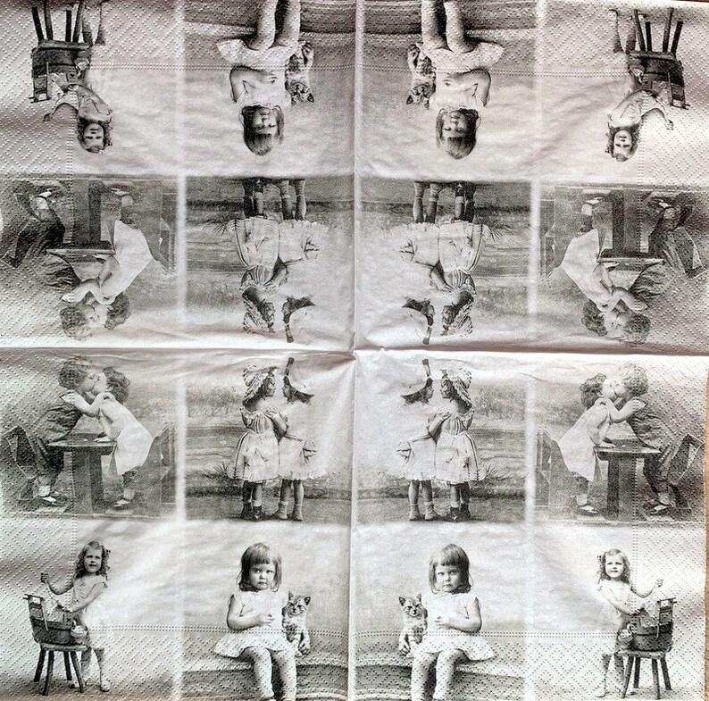 Paper-Craft and Collage 33 cm Vintage Design 13 inches Decoupage Napkins 2 Single  Paper Napkins for Decoupage Decor #618-1