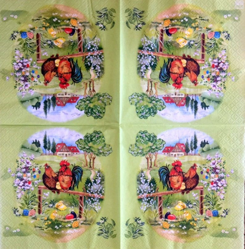 Decor #264 Decoupage Napkins for Decoupage Paper-Craft and Collage 13 inches 33 cm 2 Single  Paper Napkins