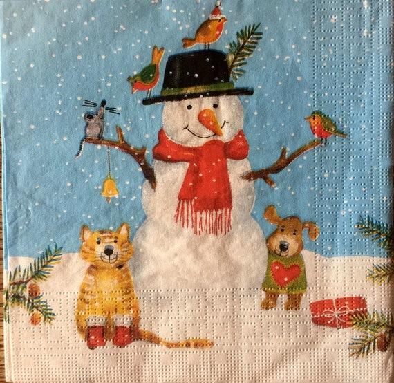 snowman Christmas snow  -X114 surprise 4 Single paper decoupage napkins