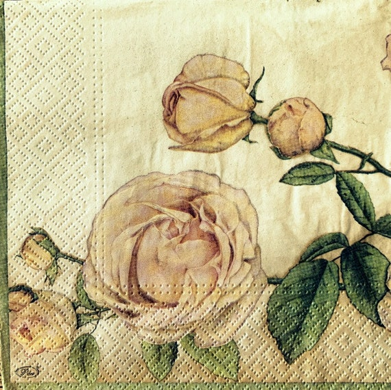 Paper-Craft and Collage 33 cm Decor #7 2 Single  Paper Napkins for Decoupage 13 inches Decoupage Napkins Roses