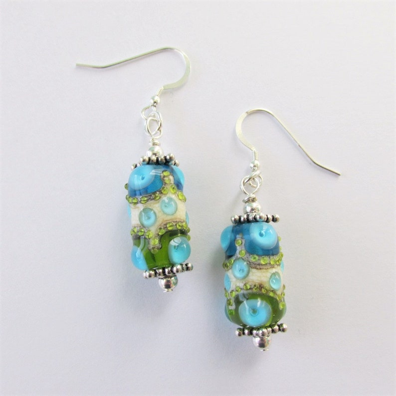 7e16915bc138fe Lampwork Bead Earrings Summer Art Earrings Aqua Drip | Etsy