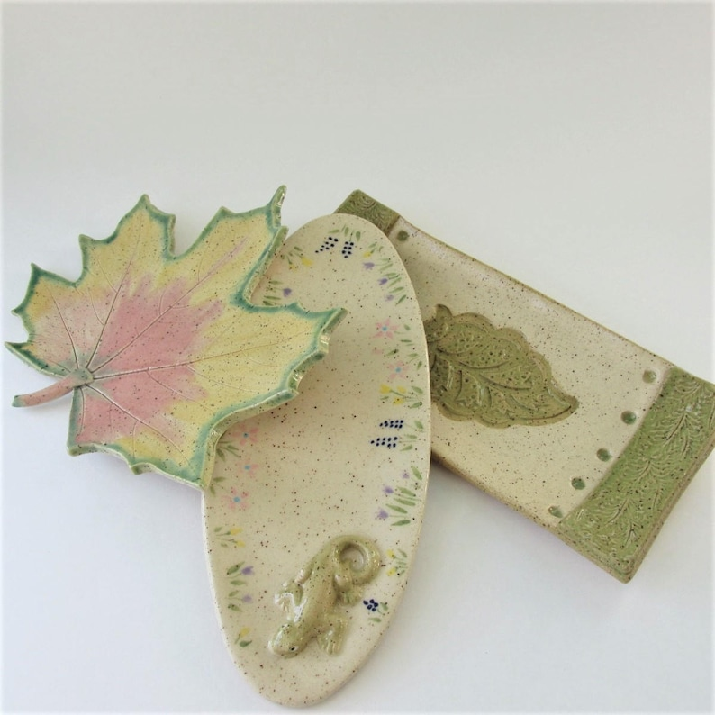 hors d/'oeuvres plate Small Leaf Platter Hand Crafter Pottery Plate Tapas Tray Small Leaf Tray