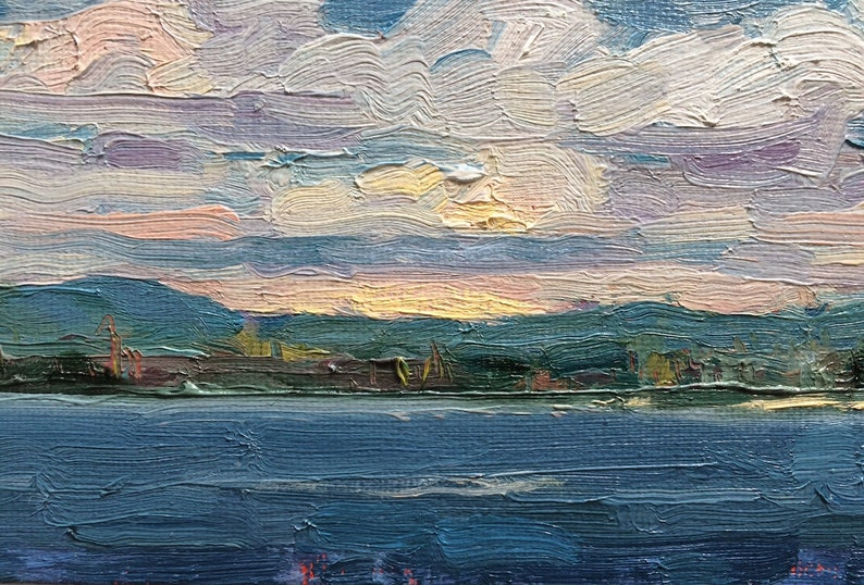 Free Shipping to USA. Northern Landscape Northern Peace Framed original  6 x 8 oil on canvas panel Frame Yvonne Wagner
