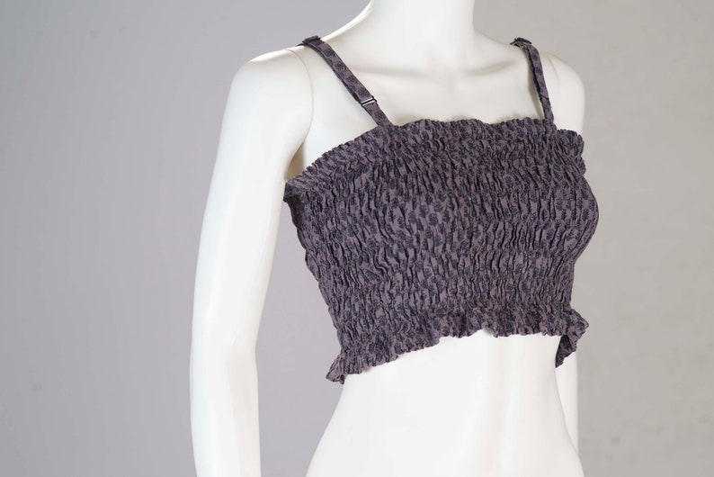 Vtg 70/'s LAVENDER Romantic Gathered Half Shirt Crop Top xs