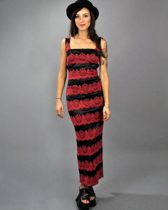 Vintage 90s Red Textured Velvet Triangle Pattern Maxi Dress