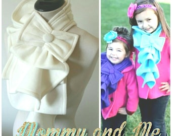 Mommy and Me Ruffle bow scarf combo- Fleece -  Many colors and prints to choose from