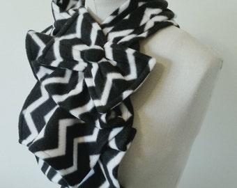 Ruffled Bow Scarf - Fleece chevron print black and white Made-to-order