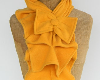 Ruffled Bow Scarf - Mustard