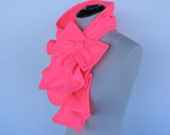 Ruffled Bow Scarf - Fleece Fluorescent/ Neon Pink - made to order