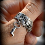 Sale! Garden Gate Charm Ring hinged padlock band