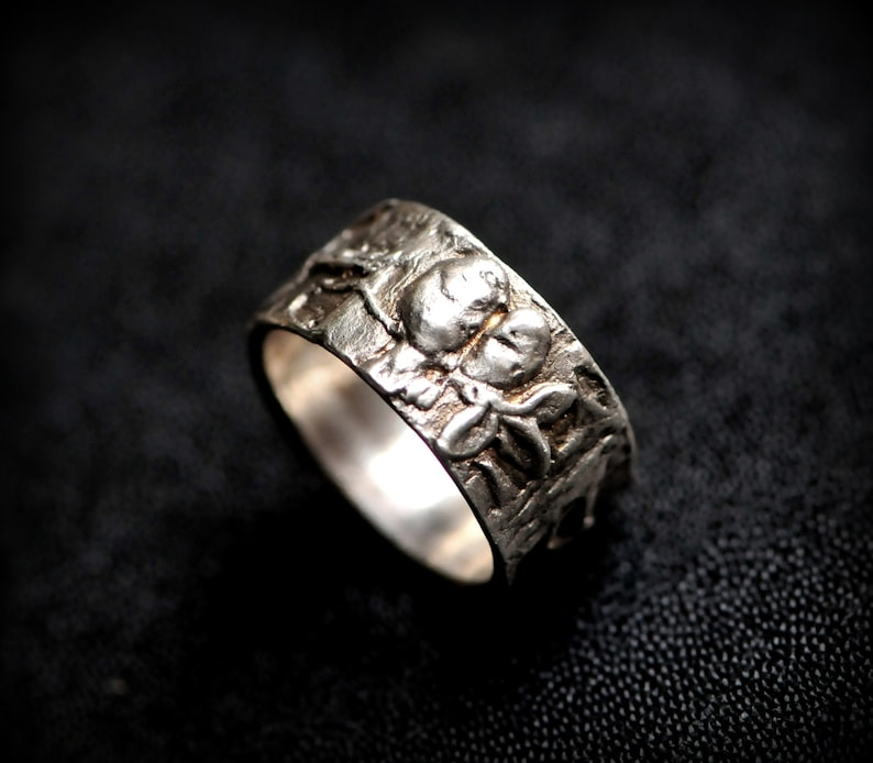 Solid Sterling Silver Woodland Bird Ring image 0