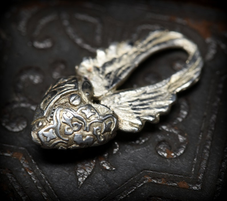 Steampunk heart with wings charm in sterling silver image 0
