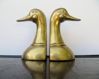 Vintage Brass Duck Book Ends